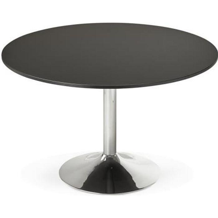 table ronde d120 cm plateau noir pied chrom dino achat vente table manger seule table. Black Bedroom Furniture Sets. Home Design Ideas