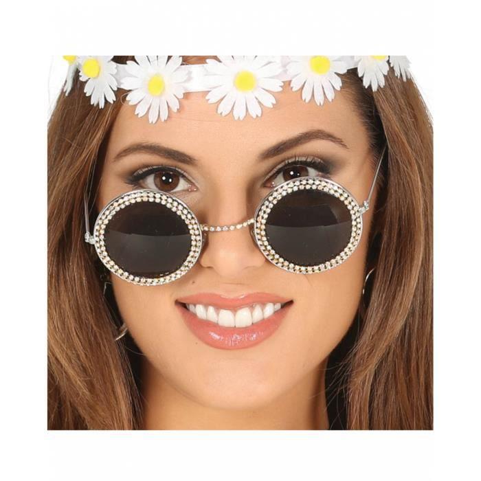 34e92b1fc6f3ba Lunettes Hippie avec strass - Achat   Vente accessoire déguisement ...