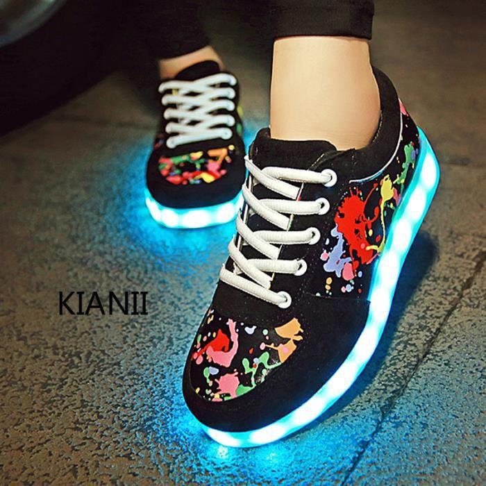 Kianii-Chaussures a LED 7 Couleur Homme USB Charge LED Lumière Baskets Noir Ja67bEG