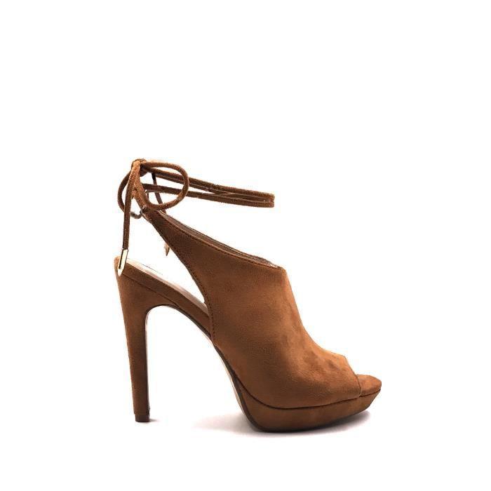 CHIC NANA . Chaussure Femme Mode Escarpins effet daim bout ouvert en couleur Noir 37. qU5H6ALC5