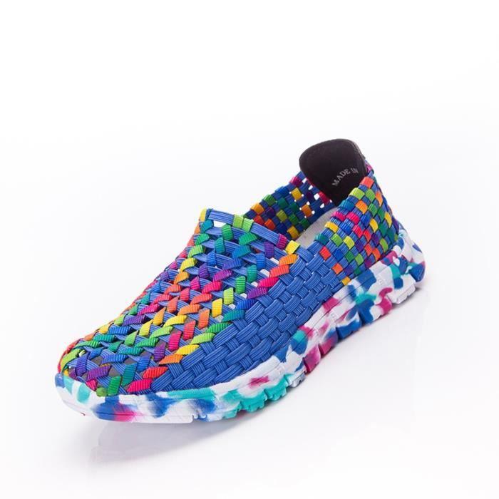 Femmes Chaussures d'été Flat Femme Mocassins Femmes Flats Casual Tissé Chaussures Slip On Shoe Colorful Plus Size 41,vert,41