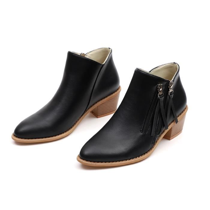 eec312f07a4 Printemps Automne Femmes Chelsea Boots Zipper Talons Hauts Bout ...