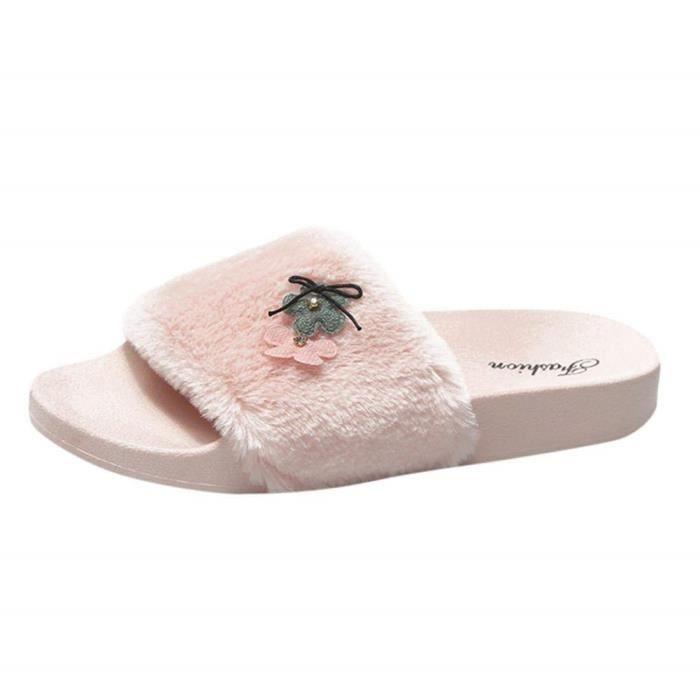 Extrieure Fluffy Plates De Jardin Chaussons Peluche Antidrapantes En Pantoufle Sandales Sweet intrieure Femme Sabots Douces Avec 0mvN8nw