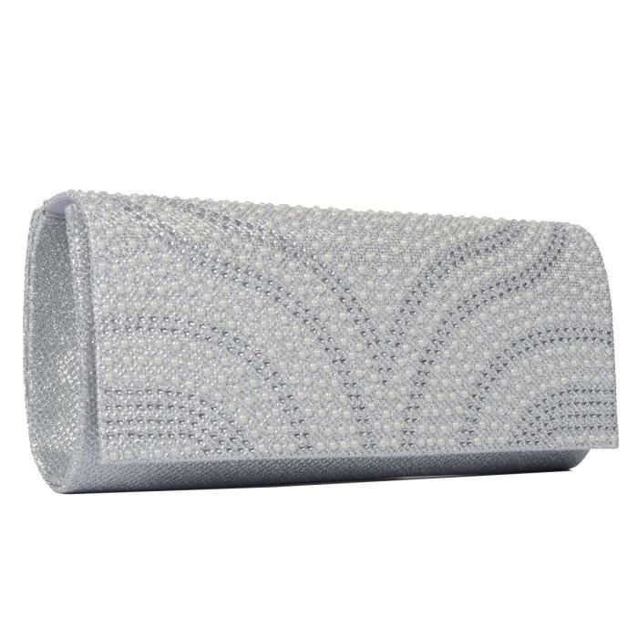 Womens Patterned Pearl Flap-over Dazzling Clutch Evening Bag Party Purse Handbag IGHMK
