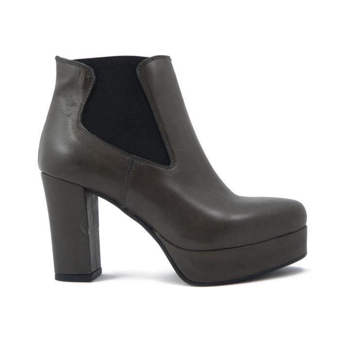 Boot femme en cuir gris, avec le modèle élastique, talon 9cm. et le plateau de 2.5cm., anti-dérapant semelle en caoutchouc, 501Be