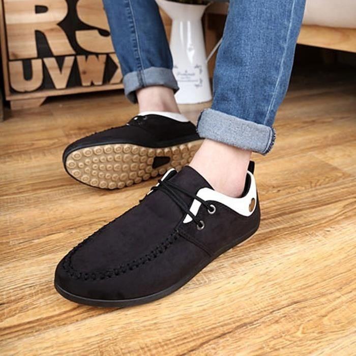 Mode Hommes Respirant Doug Chaussures Corée Fashion Style Mocassins Souliers conduite à lacets,noir,44