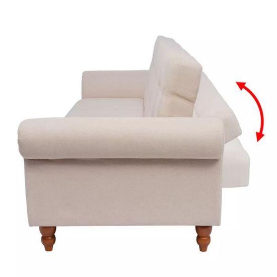 Canapé Lit Confortable 2   3 Places Tissu Crème   Achat / Vente Canapé    Sofa   Divan   Cdiscount