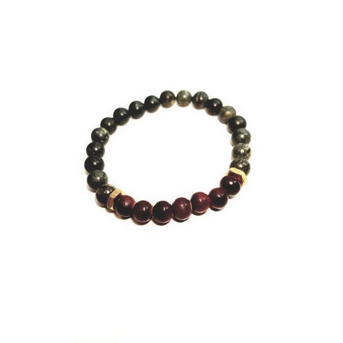 Bracelet en perles de femmes Taille 8 vert et marron Bracelet en perles pour lui V8I6S