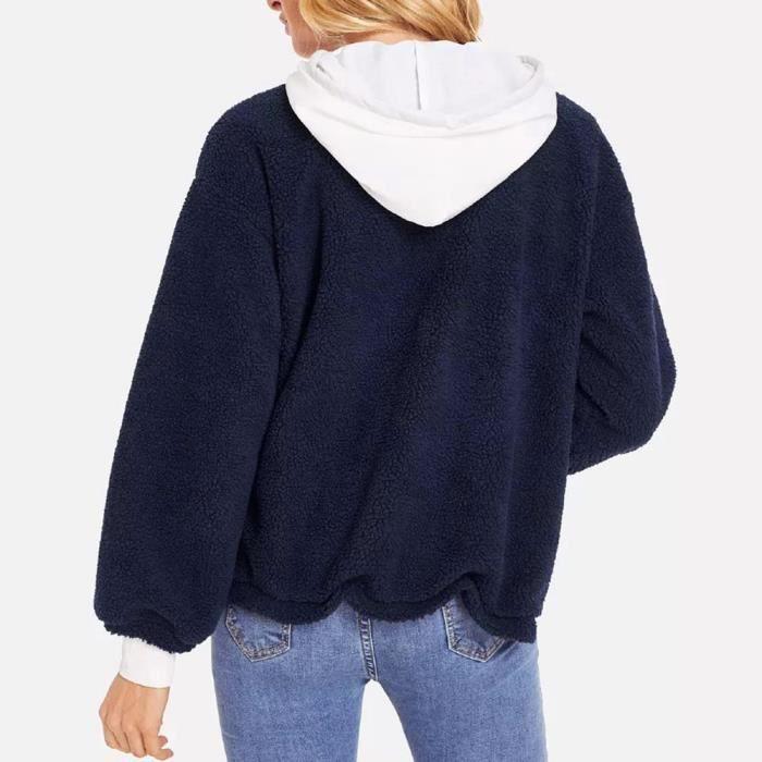 Laine Polaire Veste Fausse Chaud Cardigan Femmes D'hiver Exquisgift Manteau Fourrure Bleu Simple qSwxBETt