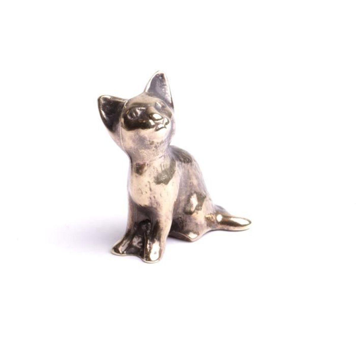 Chat miniature assis collection félins animaux de compagnie figurine  décoration pour collectionneurs objet entièrement fait mains.