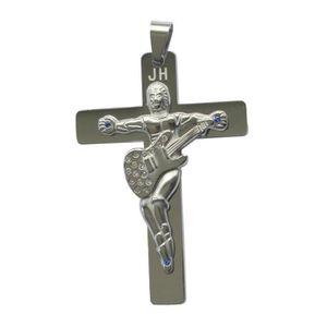 SAUTOIR ET COLLIER JOHNNY HALLYDAY Pendentif Croix Guitare en acier i