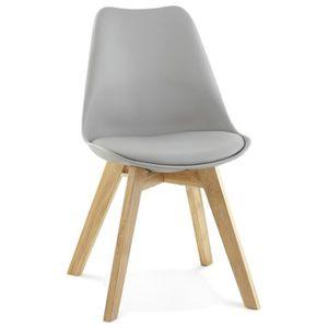 chaise grise pied bois achat vente pas cher. Black Bedroom Furniture Sets. Home Design Ideas