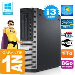 UNITÉ CENTRALE + ÉCRAN PC DELL 7010 DT Core I3-3220 Ram 8Go Disque 1 To W