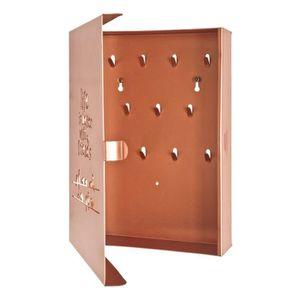 ARMOIRE - BOITE A CLÉ Boîte à Clés en métal laqué cuivre avec 10 crochet