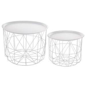 PLATEAU DE TABLE Lot de 2 tables café coloris blanc en fer et acier