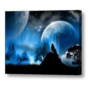 TABLEAU - TOILE TEMPSA Tableau Peinture à Huile Loup Lune Bleu Sur