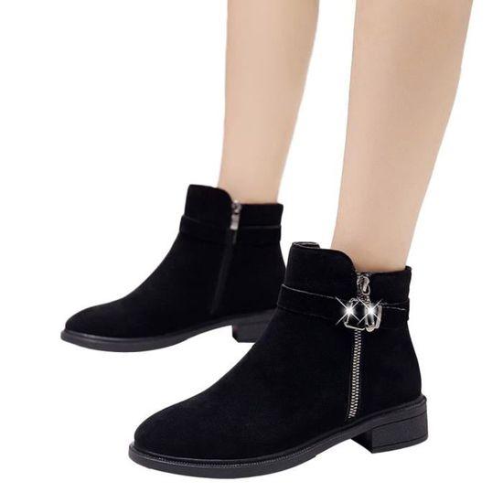 5467d061d432b Bout Chaussures Rond Talkwemot2209 Boucle Femmes Sangle Plates Gardez  Bottines En Daim Martain Chaudes Bottes zvqAdAnTZw