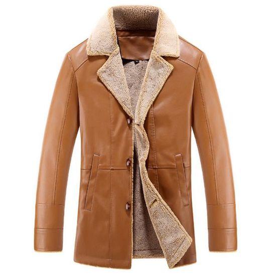 Hommes Cuir Mode D'hiver Kaki Cachemire Longueur Bouton Moyen Lapel En Imitation Manteau qBvwt5q6