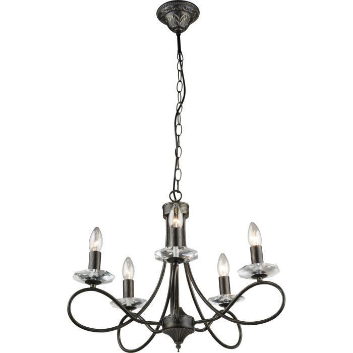 Suspension noir doré - Verre translucide - A:550 - H:980 - Ampoule non incluse 5xE14 60W 230VLUSTRE - SUSPENSION