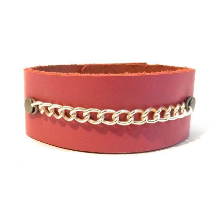 Femmes en cuir Cuff Bracelet en étain dargent de la chaîne rose K9HAC