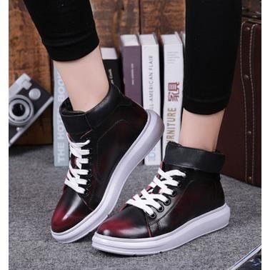 Haut-dessus chaussures plates amateurs de mode Nouvelle chaussures en cuir chaussures casual coréens Rouge 35
