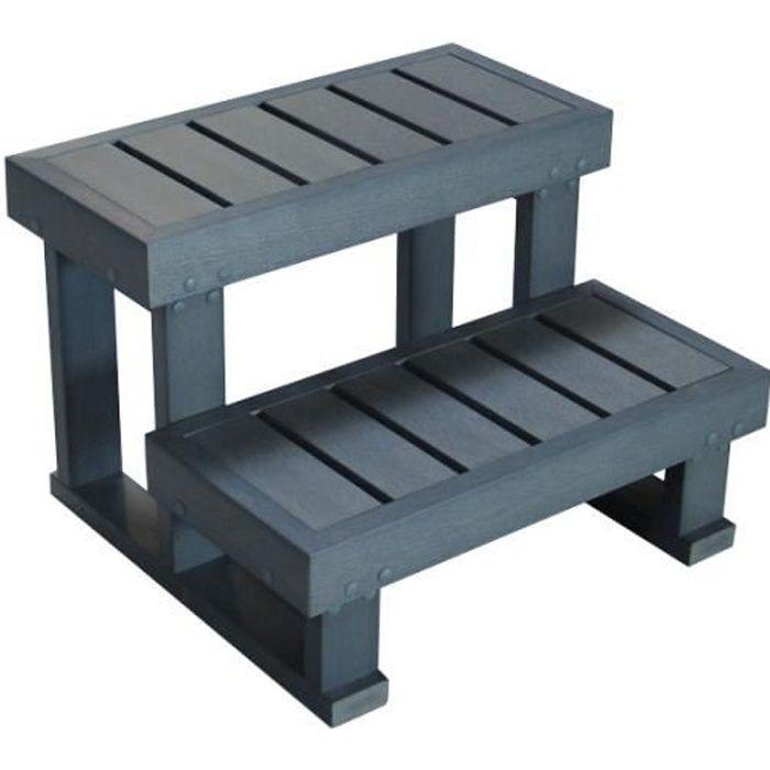 marche balneo escalier pour spa 2 marches gris spalna