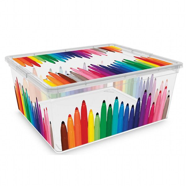boite plastique enfant motif feutre 18 l achat vente boite de rangement cdiscount. Black Bedroom Furniture Sets. Home Design Ideas