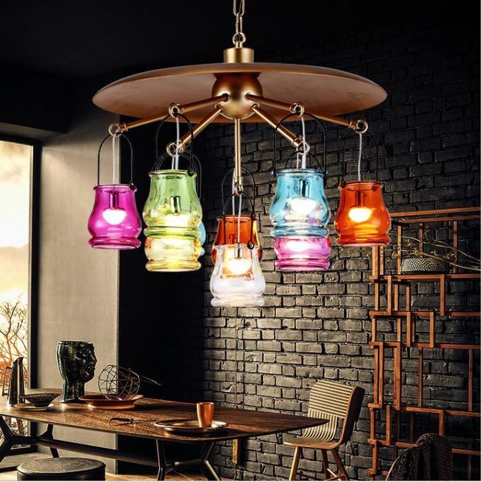E27 Lustre Industriel Barre 3 Lampes Suspension Disque Cage