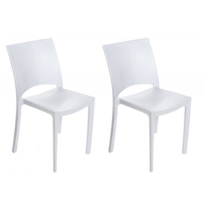 CHAISE Lot de 2 chaises polypropylène blanches MILLY  Pla