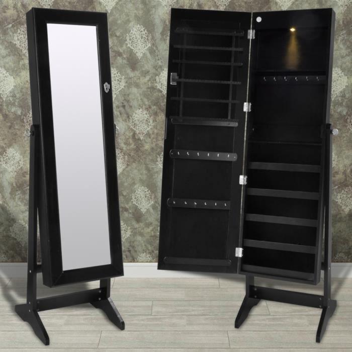 Armoire Bijoux sur Pied avec Miroir et éclairage LED Noir boucles d ...