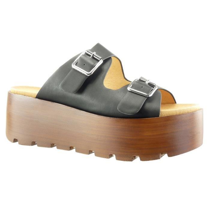 Angkorly - Chaussure Mode Sabot Sandale plateforme femme lanière boucle bois Talon compensé plateforme 7 CM - Noir - SK1101 T 41