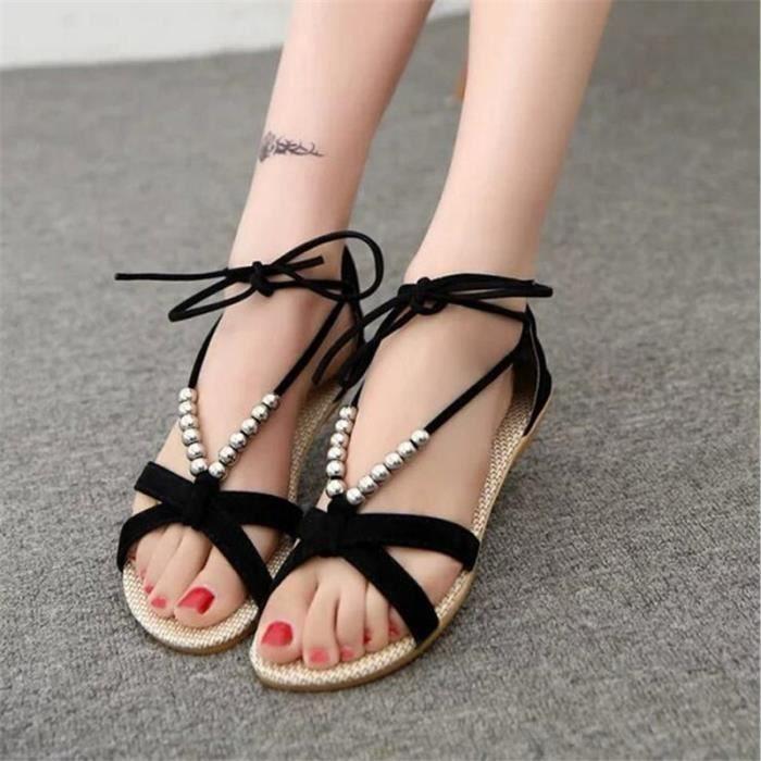 Sandale Femme Haut qualité Durable Nouvelle Mode Marque De Luxe Sandales Plus De hiver Coton Couleur noir vert Grande Taille 36-40 sd0GW