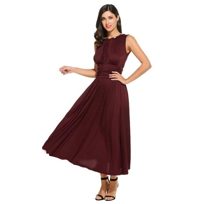 Maxi robe plissée femmes Casual v-cou sans manches lacées tunique Pullover solide élastique