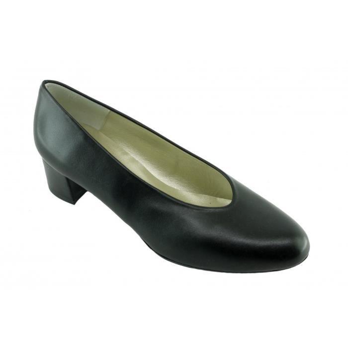 INGRID - Escarpin souple bout rond amande petit talon chaussures femme petites pointures tailles marque Angelina Paris cuir noir