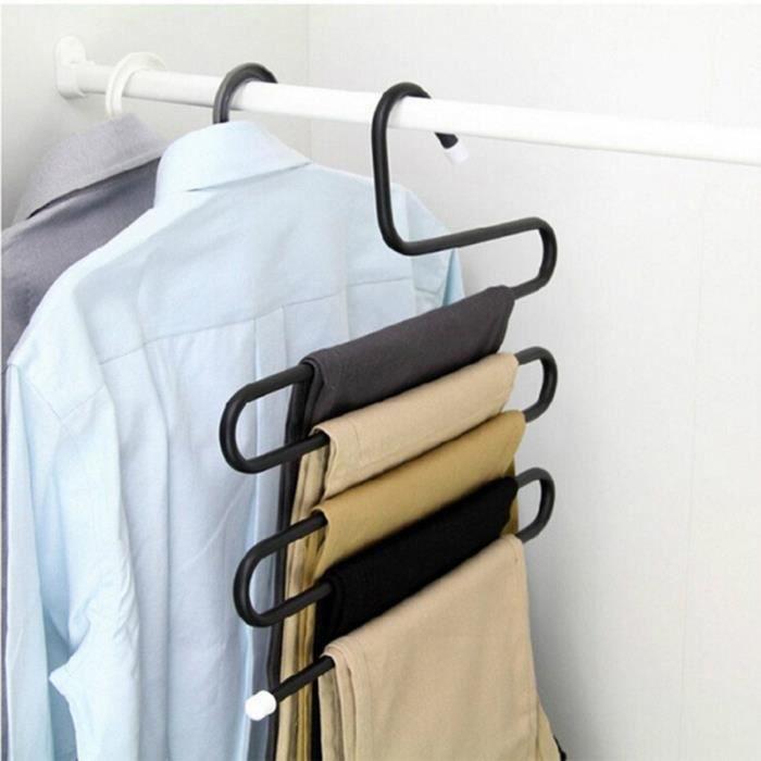 noir cintre pour pantalons porte v tements s forme multicouches achat vente cintre noir. Black Bedroom Furniture Sets. Home Design Ideas