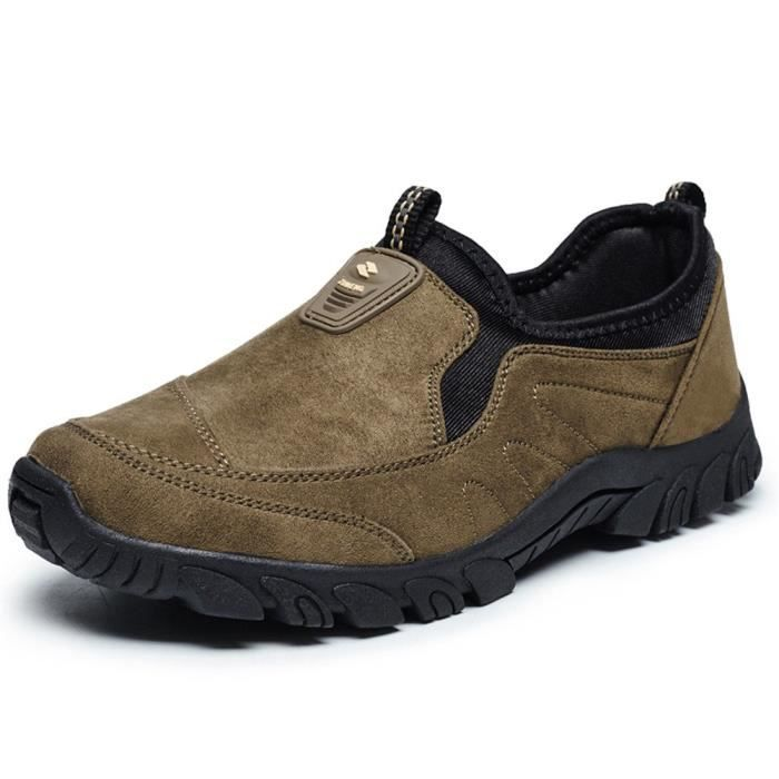 Casual Light Weight Suede Outdoor Non-slip Elderly Walking Sneaker Shoes RF8Y9 Taille-42 1-2