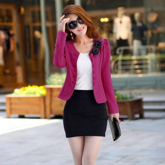 Mode Veste Manteau Blazer Casual Solid Femmes Bonbons Spentoper Vif Costume Couleur Rose Tops Slim TWzBtwH4P