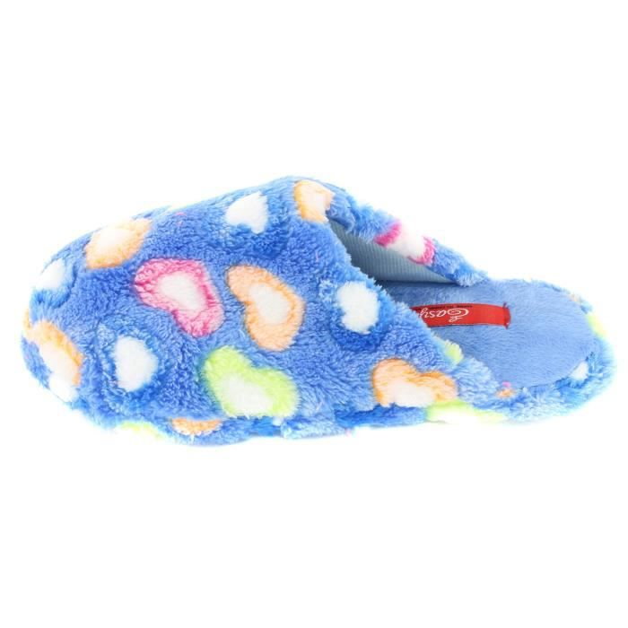 Colorful Hearts Plush Slippers Scuffs DRTQE Taille-S