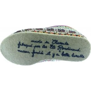 Castella- Charentaise française Femme tissu 100% laine multicolore semelle feutre chaussons Rondinaud fabriqué en France z49K24V