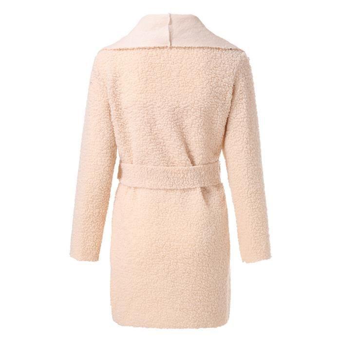 Taille Pardessus Cinch Outwear Neck Avec Cardigan Lapel beige Manteau Caban Irrégulière Femmes Ceinture vqY040