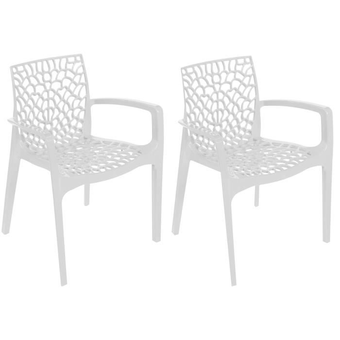Chaise Design Blanche Avec Accoudoirs GRUYER