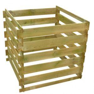 COMPOSTEUR - ACCESSOIRE Bac à compost carré en lattes en bois 0,54 m3