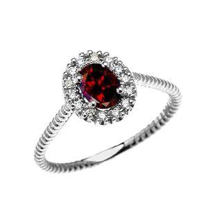 BAGUE - ANNEAU Bague Femme 14 Ct Or Blanc Diamant Et Ovale Grenat