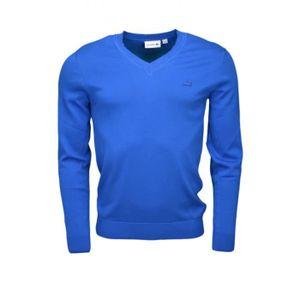 dd6afa95f6df Pull col V Lacoste bleu saphir pour homme - Couleur  Bleu - Taille ...