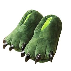 Chausson Pantoufle Animal Monstre Dinosaure Hiver Peluche Pantoufle JXG-XZ005Vert-28 yXD6rqDvyl