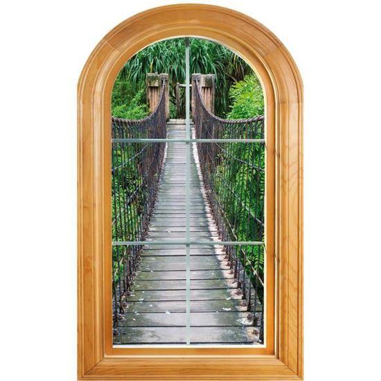 sticker fenêtre trompe l oeil déco pont suspendu dimensions achat