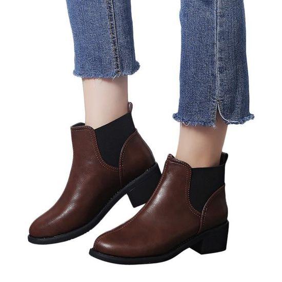 Chaussures Rond Femmes En Marron Talon Carré À Martain Slip Shoes On PCndaqPpx