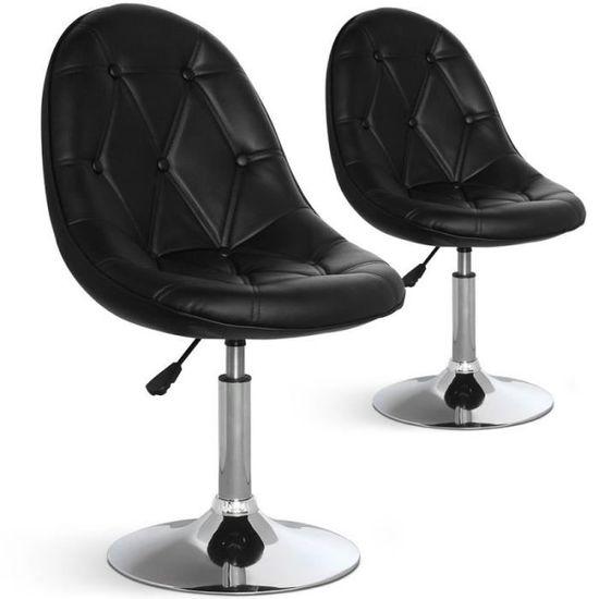 Lot De 2 Chaises Design Ravel 52cm Noir Achat Vente Chaise