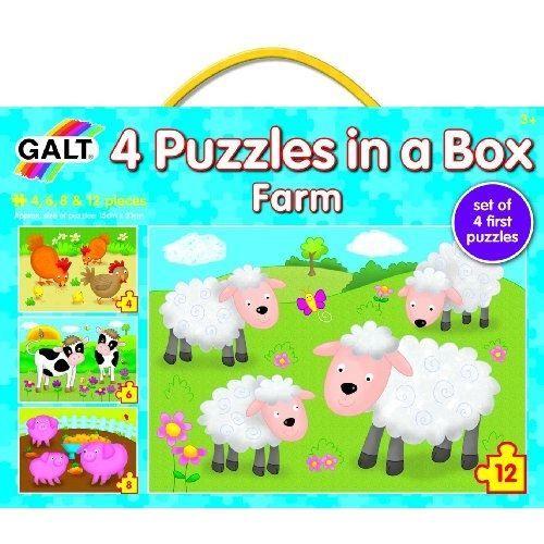 4 Puzzles progressifs - Ferme - Dimensions 15,2 x 21,5 cm - Mixte - A partir de 36 mois - Livré au cartonPUZZLE