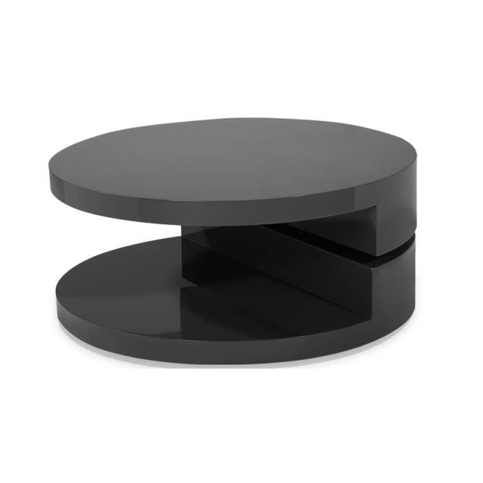 Table Basse Laquee Noire Ronde Extensible Ruben